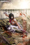 Mikasa Ackerman from Attack on Titan cosplay blood