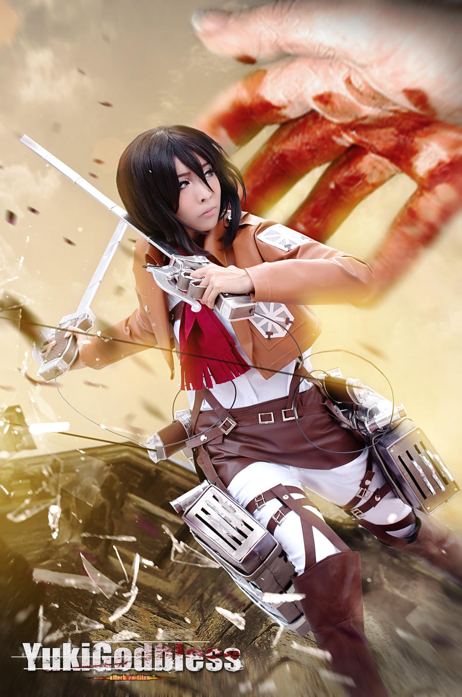 Mikasa Ackerman From Attack On Titan Cosplay Jump By