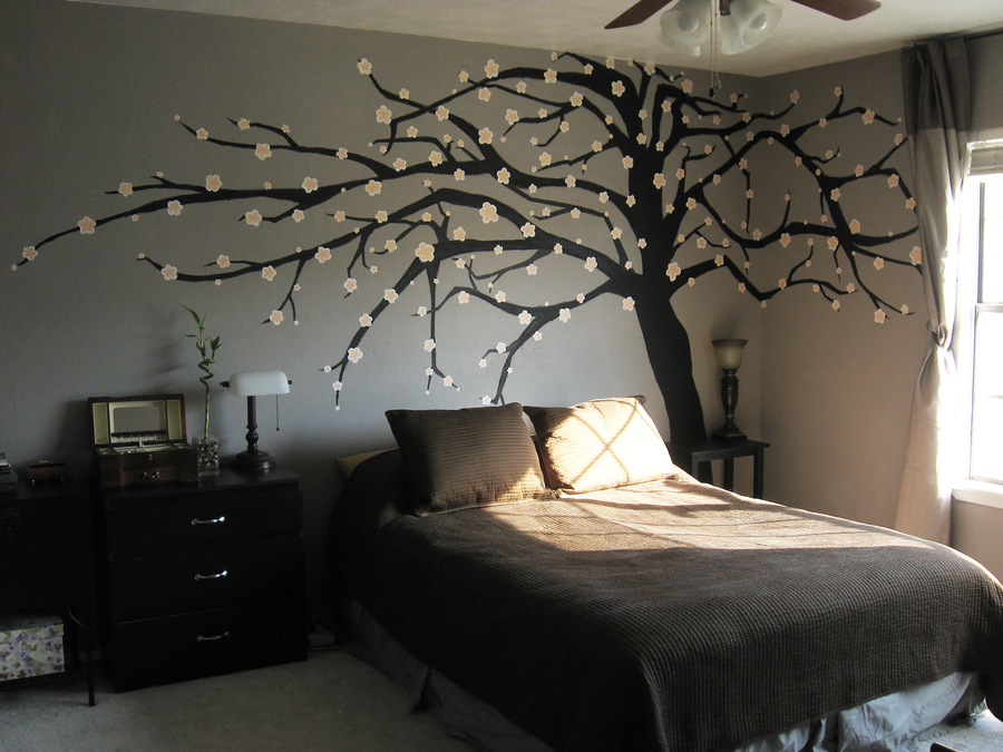 Cherry blossom mural by mrskupe on deviantart for Cherry blossom tree wall mural