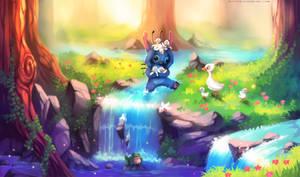 Helping to cross (Lilo and Stitch Fanart)