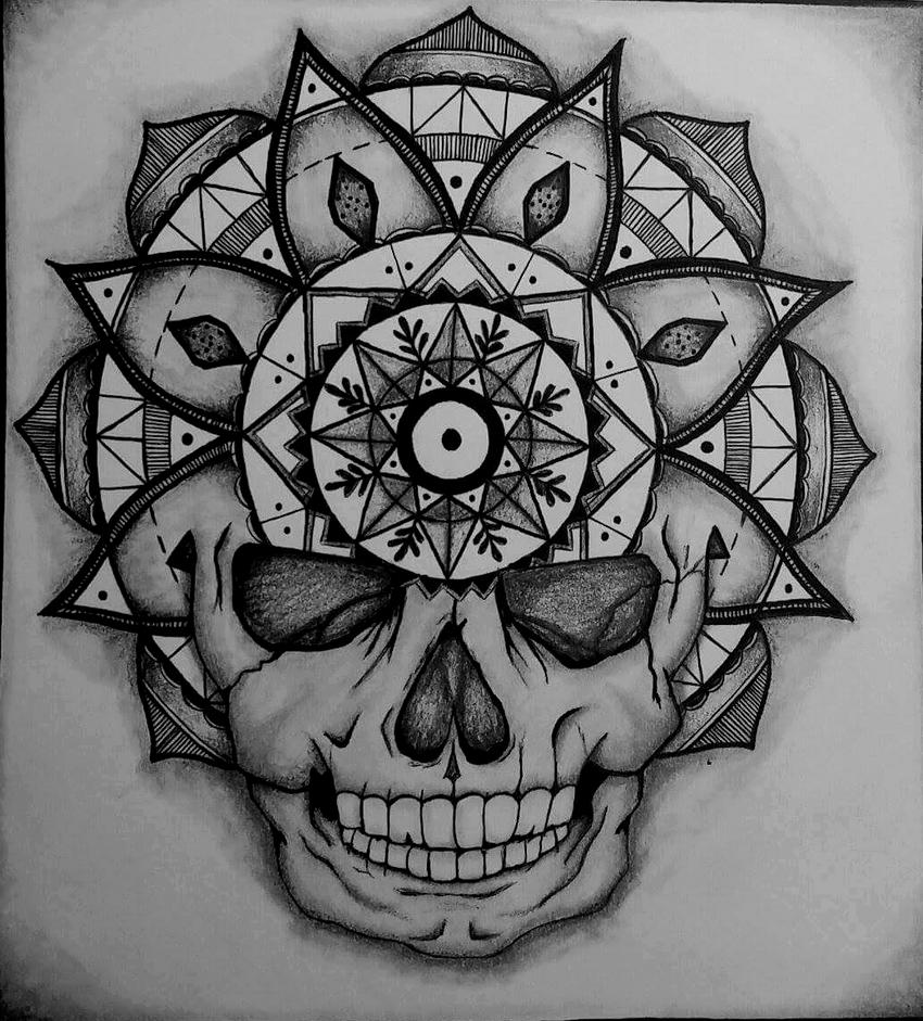 Mandala, skull by natatim