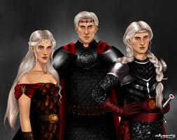 Aegon, Visenya and Rhaenys Targaryen by chillyravenart