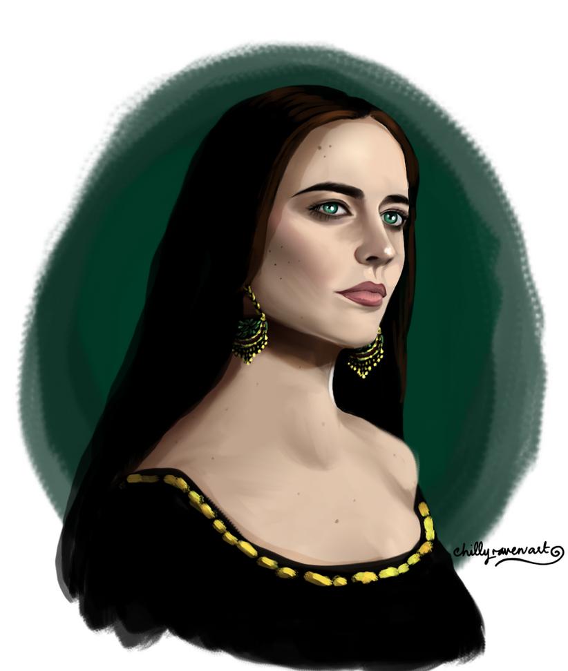 Eva Green (Camelot) by chillyravenart