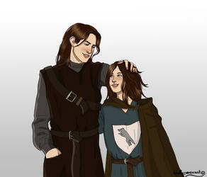 Jon and Arya by chillyravenart