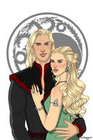 Daemon Targaryen and Laena Velaryon. by chillyravenart