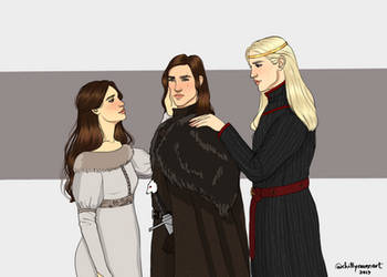 Jon and his parents... by chillyravenart
