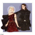 Daenerys and Jon/Ice and Fire by chillyravenart