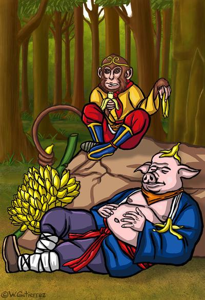 Hakkai and the Monkey King by WylzGutierrez