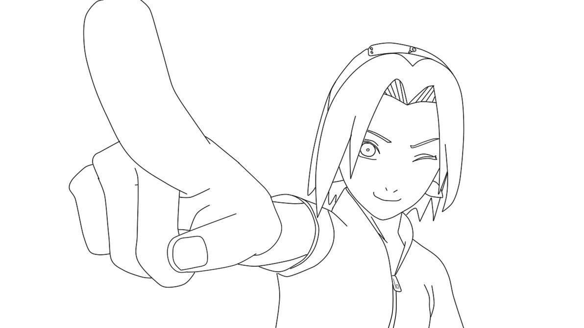 Sakura haruno lineart by krizeii on deviantart for Naruto sakura coloring pages