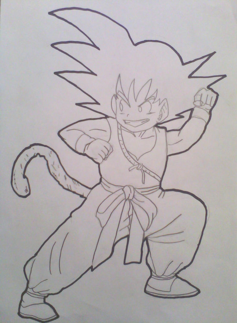 son goku kid drawing lineart by krizeii - Kid Drawing Picture