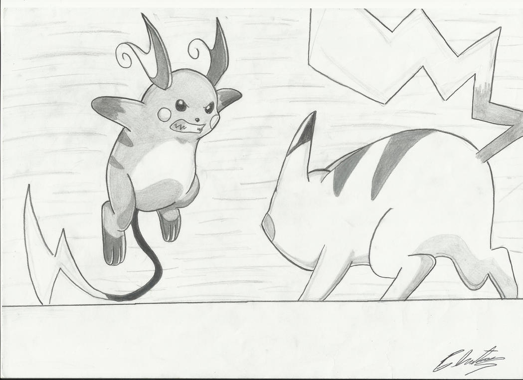 pikachu vs raichu drawing by krizeii on deviantart
