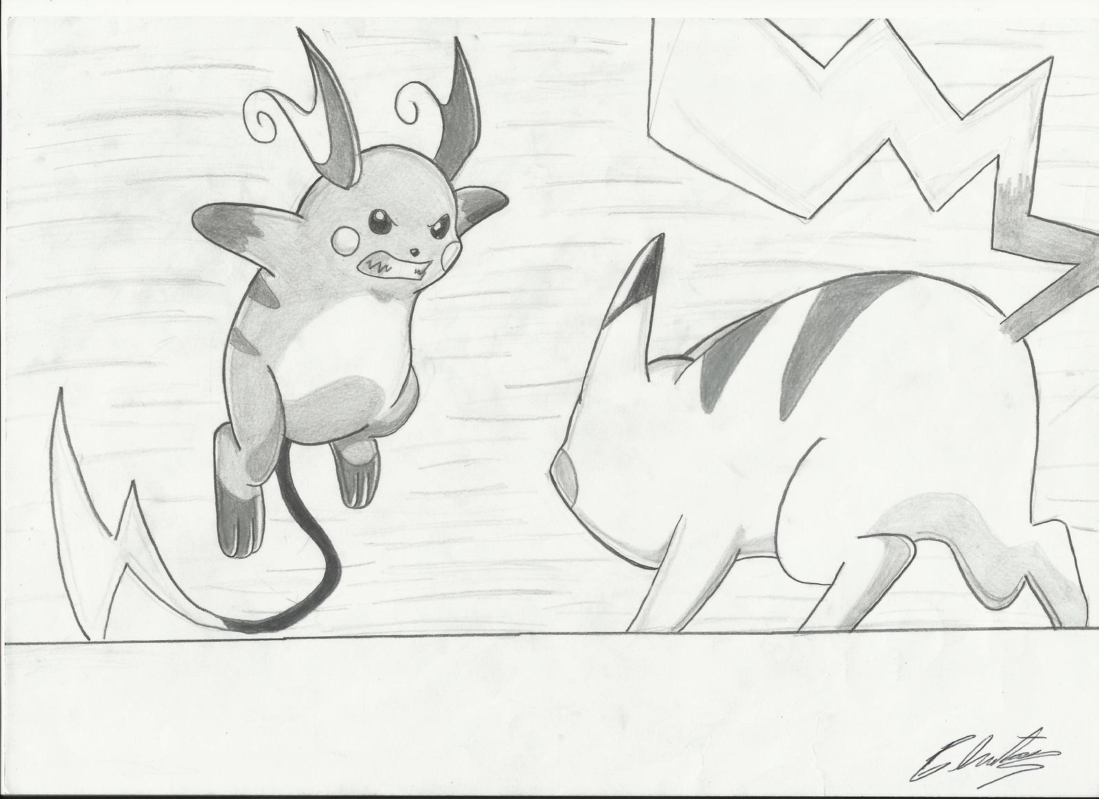 Pikachu Vs Raichu Drawing By Krizeii On Deviantart
