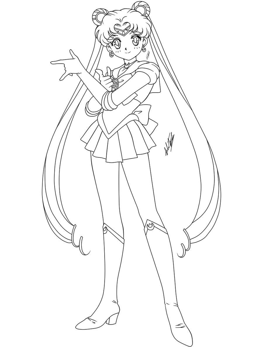 Line Drawing Moon : Sailor moon lineart by krizeii on deviantart