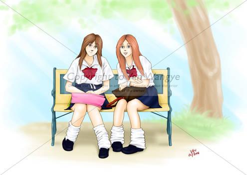 Two Japanese school girls
