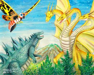 Godzilla vs Ghidorah vs Mothra by VanWangye