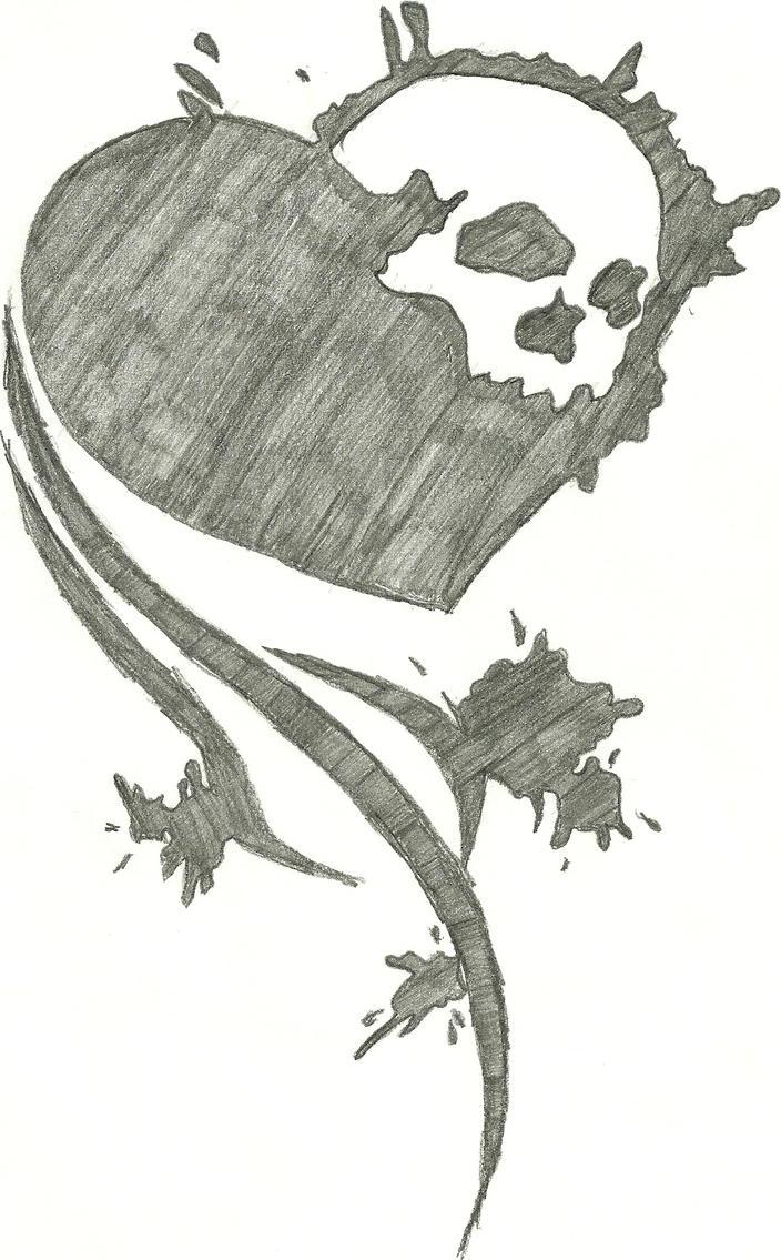 Skull N Heart Splatter By Broken23Rainbow