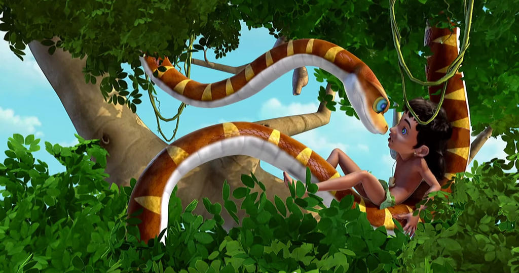 Mowgli and Kaa in The Jungle Book TV Series 2 by Swedishhero94