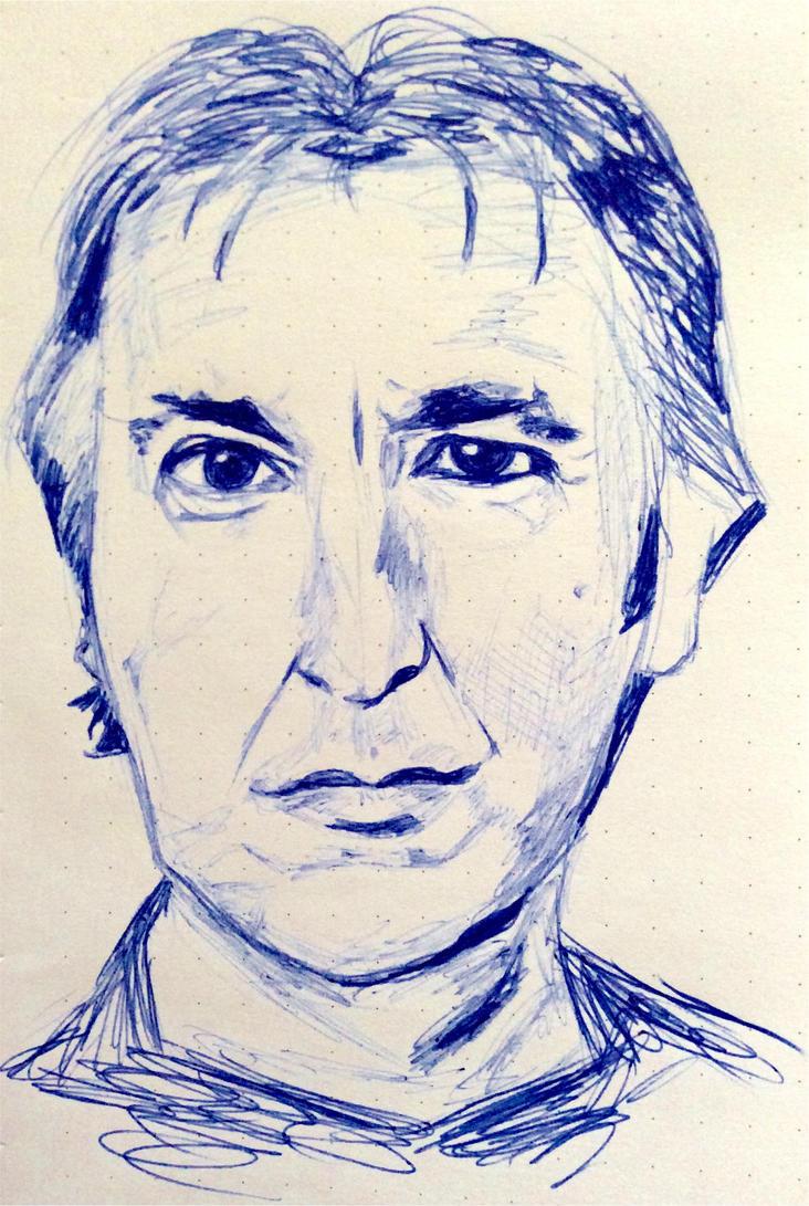 Alan Rickman Portrait by RainFeatherDream