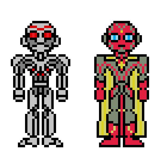 Ultron y Vision by jokernaiper