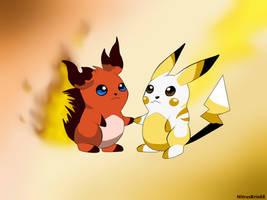 Pokemon Beta - Honoguma and Pikachu by NitrusBrio68