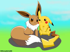 Pokemon - Pikachu and Eevee by NitrusBrio68