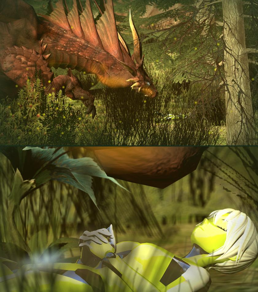 Generic Scene: Dragon Encounters Anime Robot by ALEXMERCERXX