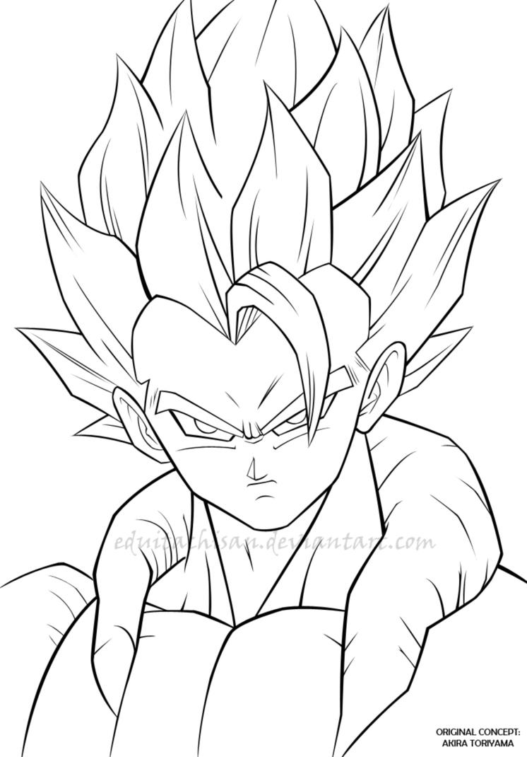Gogeta dbz lineart by eduitachisan on deviantart for Dbz coloring pages goku