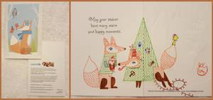 Winter Holiday Card - Fox Couple 1 - 2016