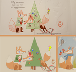 Winter Holiday Card - Fox Couple 3_Vector - 2016