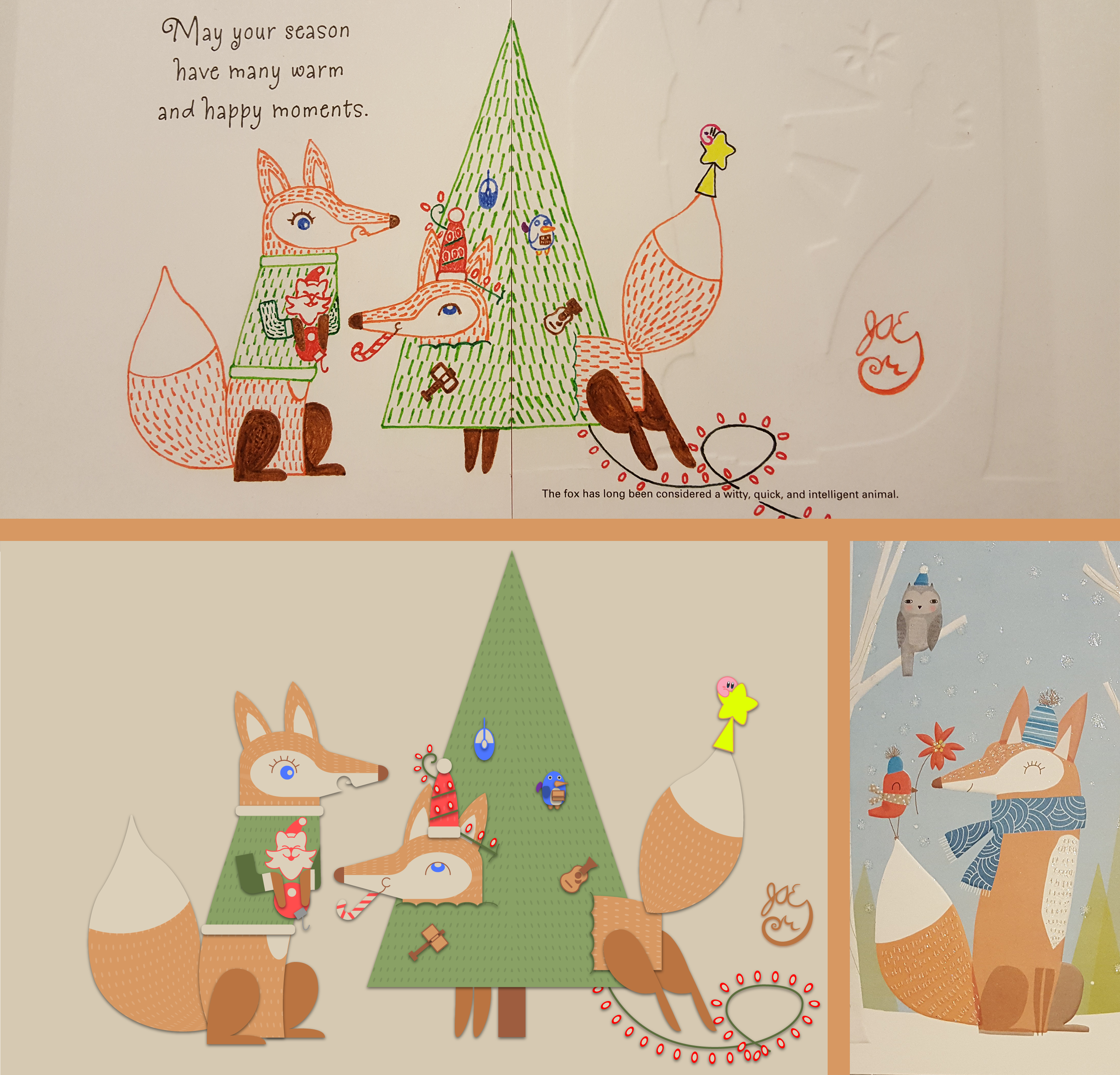 Winter Holiday Card - Fox Couple 3_Vector - 2016