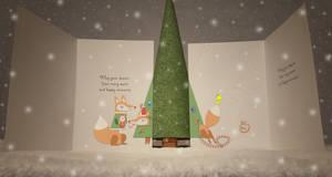 Winter Holiday Card - Fox Couple 4_Vector - 2016