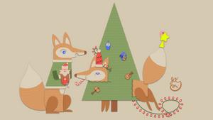 Winter Holiday Card - Fox Couple 5_Vector - 2016