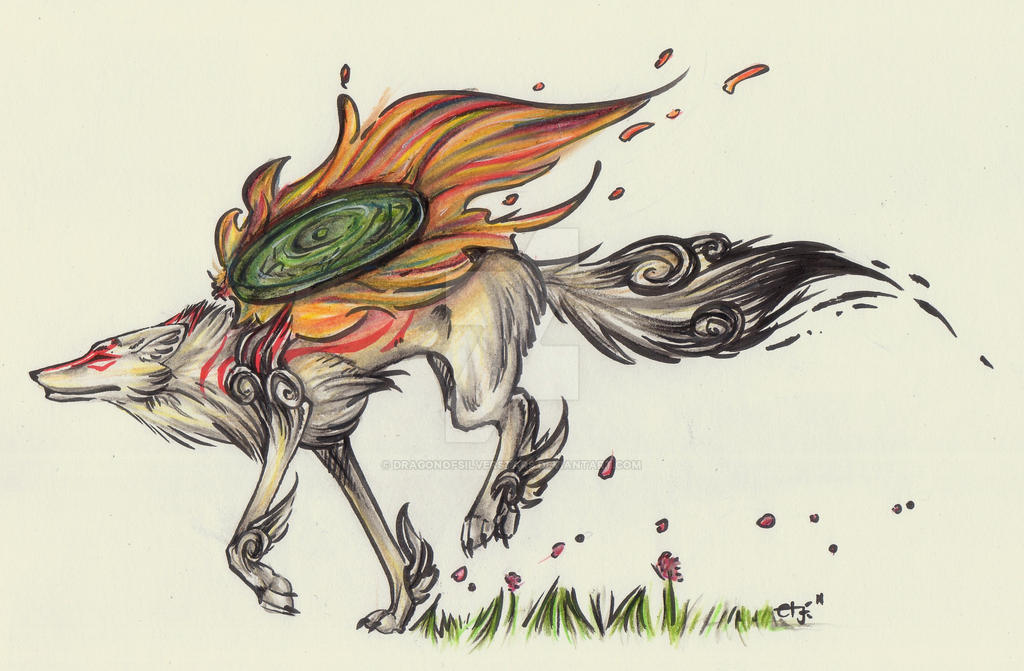Okami Amaterasu by DragonOfSilverStars
