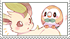 leafeon + rowlet stamp by DestinysGrace