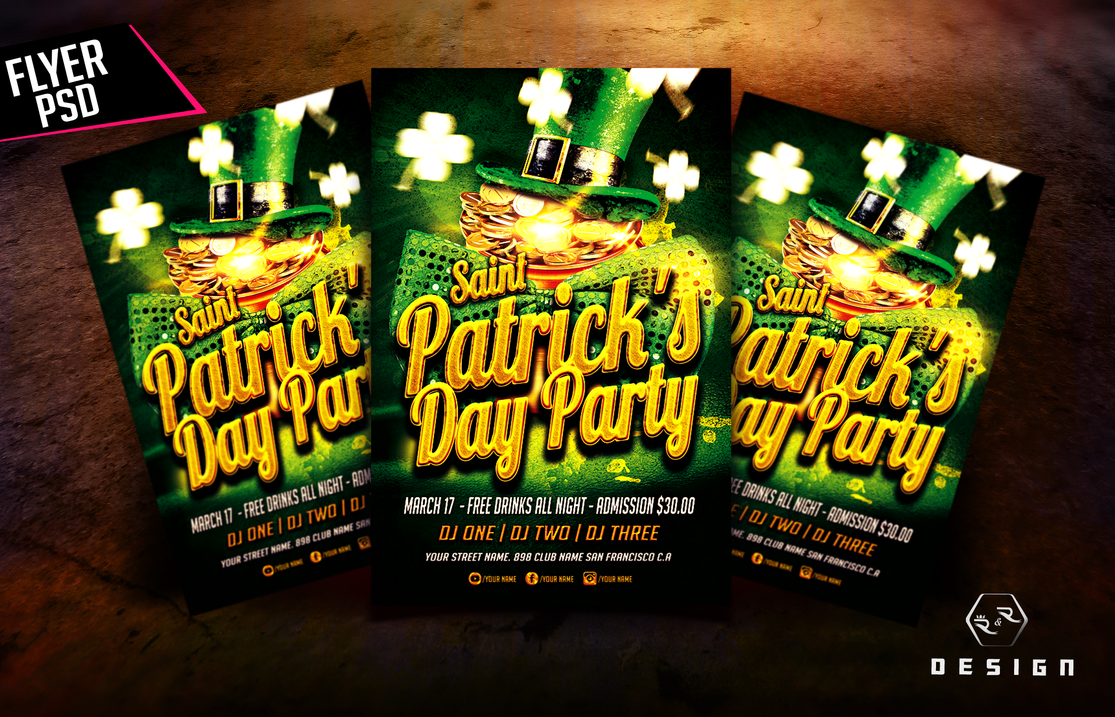 St. Patricks Day Party Flyer PSD Template by ryrdesign