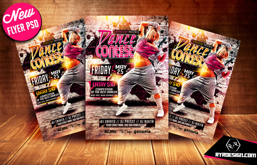 Dance Contest Flyer Template By Ryrdesign By Ryrdesign On Deviantart