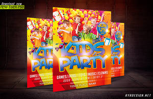 Kids Party PSD Flyer (Horizontal And Vertical) by ryrdesign