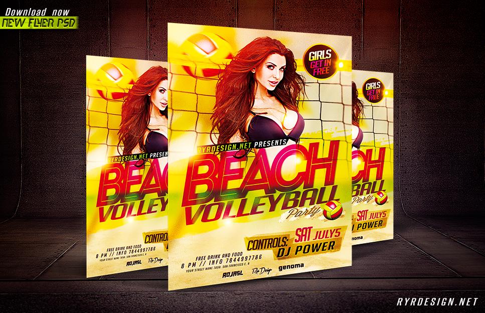 Beach Volleyball Poster Beach Volleyball Psd Flyer