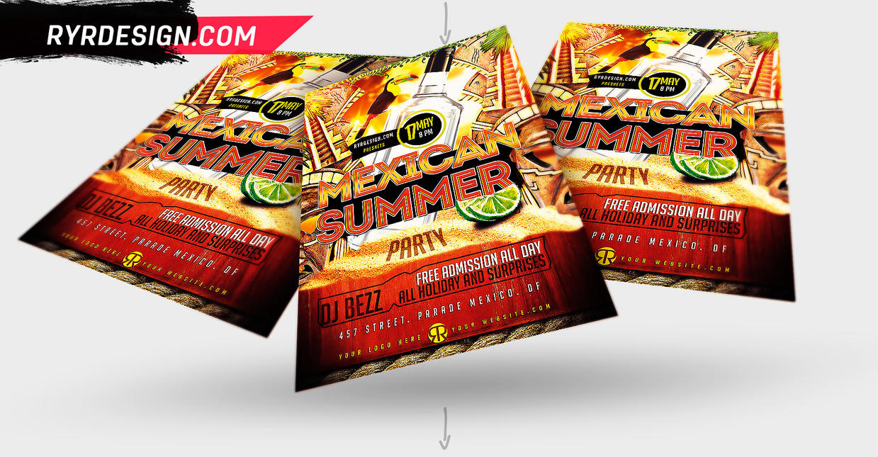 Summer Mexican Party PSD Flyer By #RYRDESIGN by ryrdesign