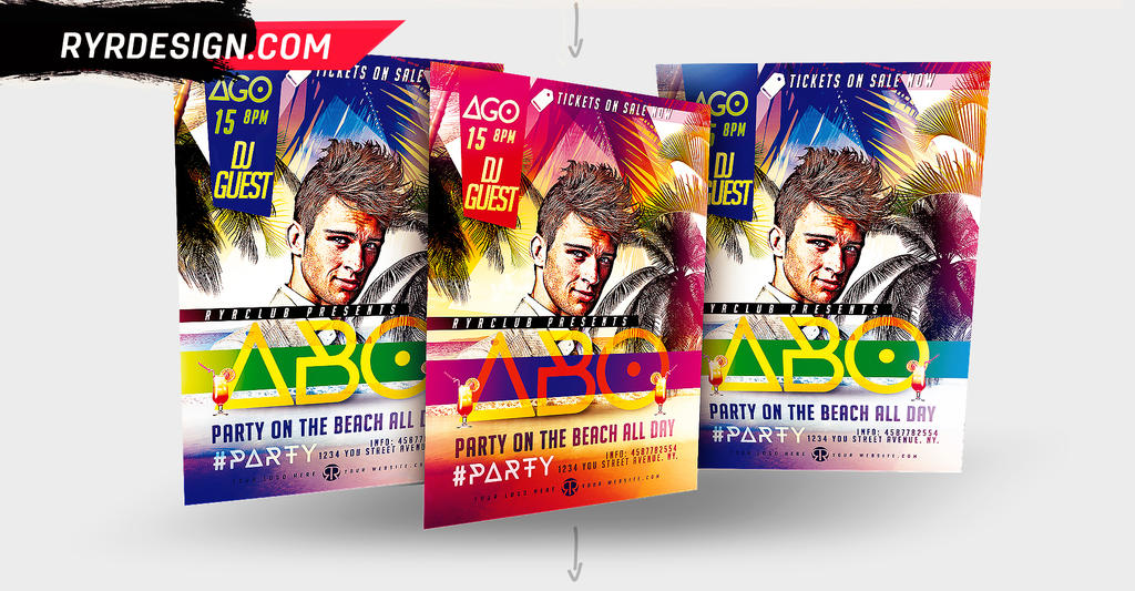 Summer DJ Flyer PSD By RYRDESIGN by ryrdesign