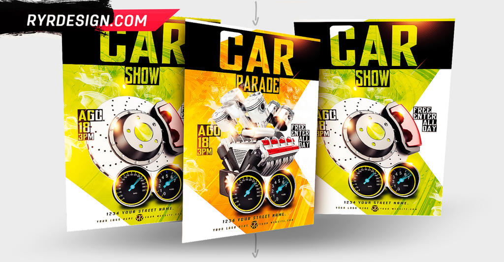 Car Show And Car Parade PSD Flyer by ryrdesign