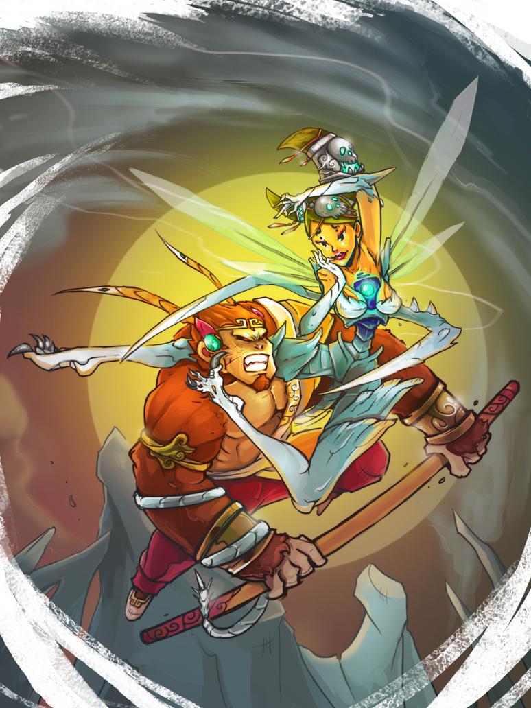 Sun Goku VS White Bone Mistress by smallguydoodle