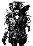 Post apocalyptic one armed woman