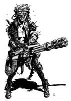 Post apocalyptic minigun girl by bumhand