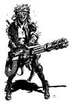 Post apocalyptic minigun girl
