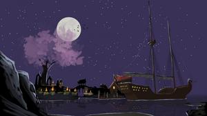 Fantasy harbor at night