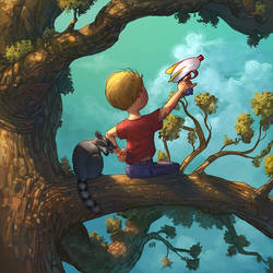 A boy, a raccoon, and a tree