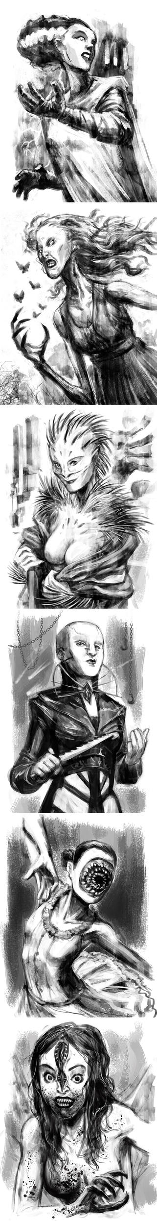 Daily-sketch-2017-Female horror characters by Onikaizer