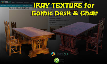 iray Texture for Gothic Desk and Chair by JV-Andrew