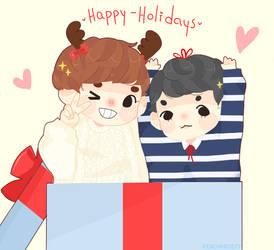 Happy Holidays from Chanbaek [+ speedpaint ] by Sunnydea